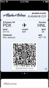 Passbook with AlaskaAir boarding pass