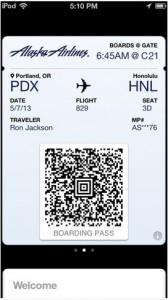 Passbook with AlaskaAir boarding pass