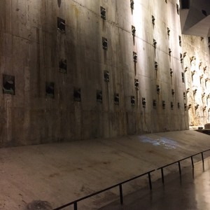 Retaining wall holding back the river at 9/11 Museum