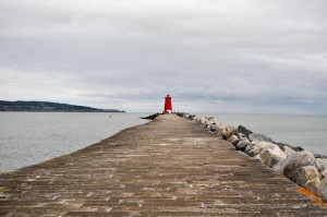 Poolbeg Lighthouse at end of Dublin pier wall
