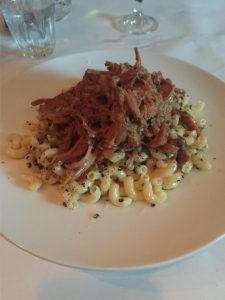 Macaroni & Cheese topped with ham at Robin Square Restaurant