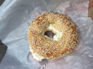 Sesame bagel from Fairmount Bagel