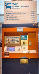 Montreal Airport Bus Ticket Vending Machine