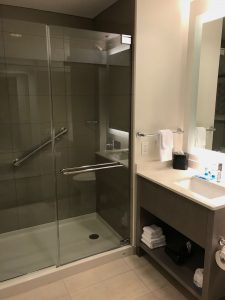 Shower and sink at Hyatt House Irvine