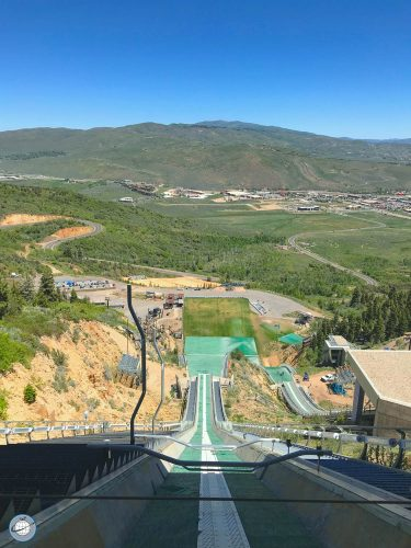 Mens Olympic Ski Jump Hill in Park City Utah in June